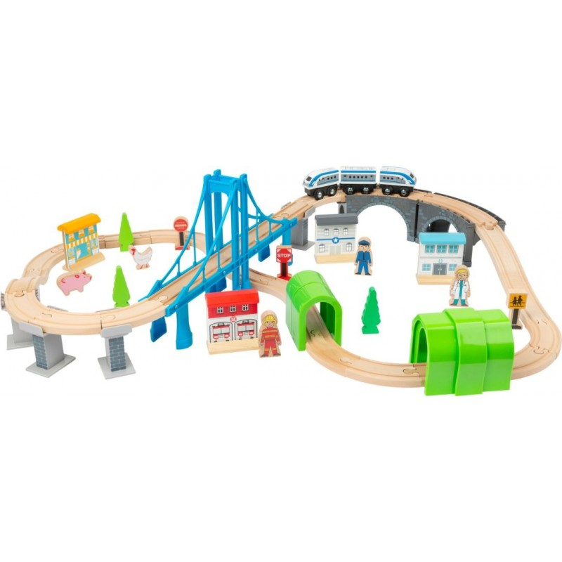 Chemin de fer en bois avec pont-Véhicules et univers de jeu en bois | BambinBois