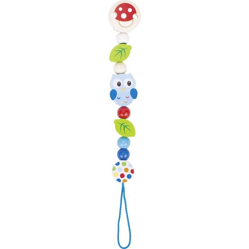 Accroche tétine en bois chouette Goki Heimess| Bambin Bois, jeux et jouets en bois