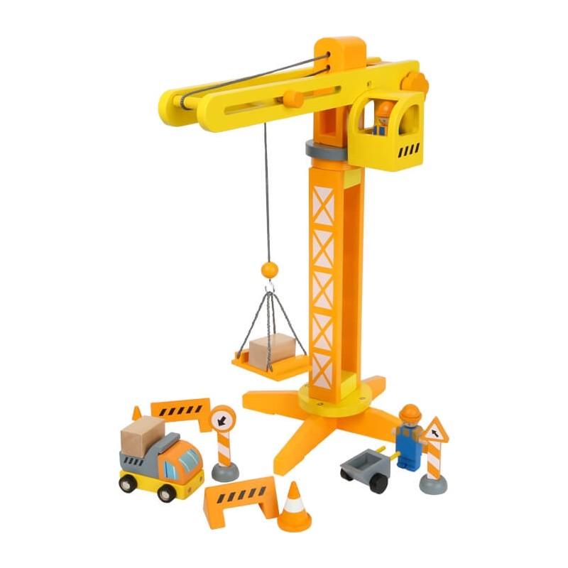 Grue avec accessoires de chantier-Véhicules et univers de jeu-Univers de jeu en bois | BambinBois