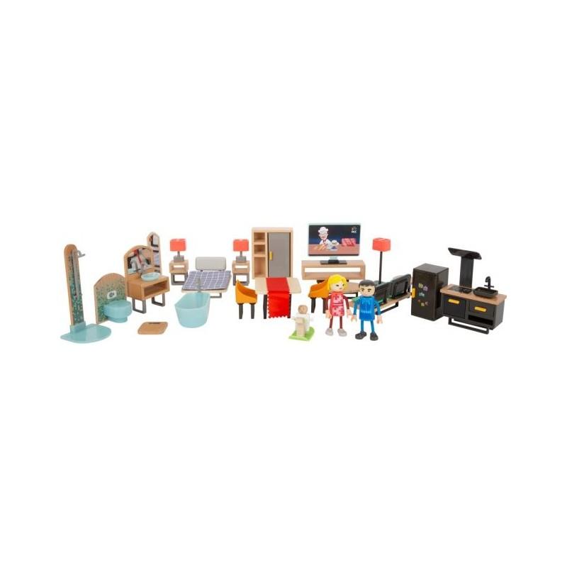 Set de meubles pour maison de poupée - Moderne-Poupées et peluches-Puzzles en bois en bois | BambinBois