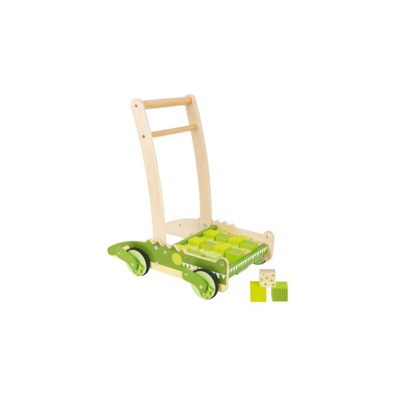 Chariot de marche -  Crocodile-Jouets pour bébé-Jouets de motricité en bois en bois   BambinBois
