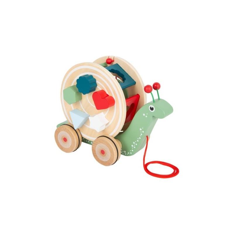 Escargot à tirer et à encastrer-Motricité et apprentissage-Jouets à tirer et à pousser en bois | BambinBois