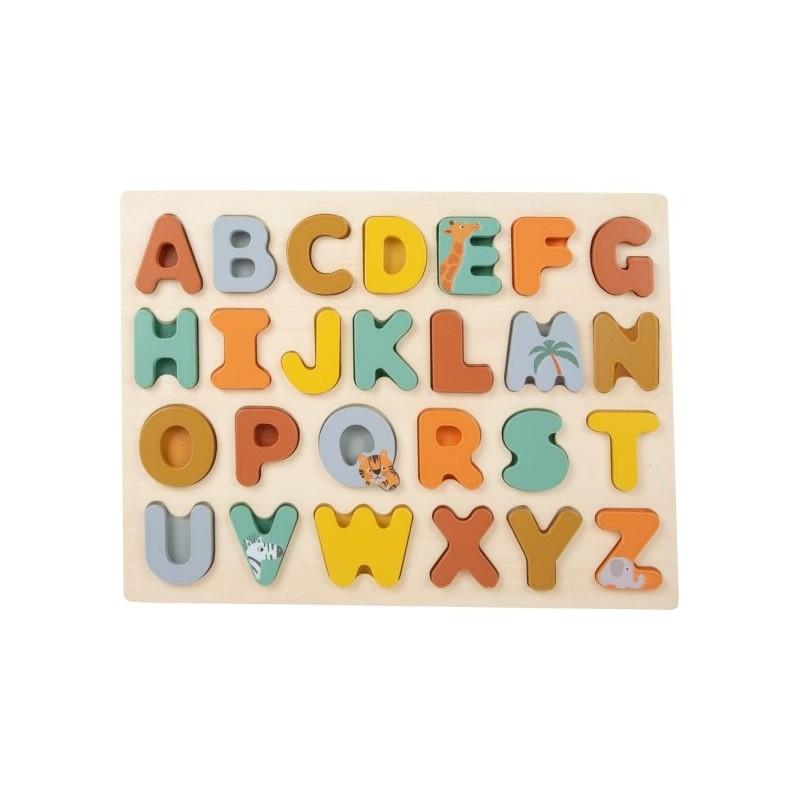 Puzzle ABC - Safari-Motricité et apprentissage-Jouets de motricité en bois en bois | BambinBois
