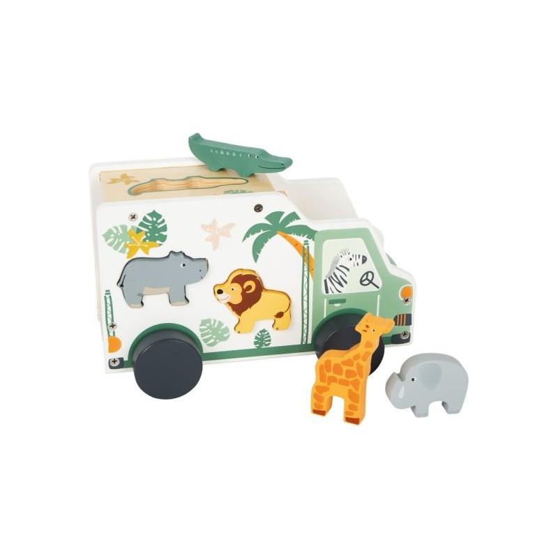 Jouet à formes et voiture de jeu - Safari-Motricité et apprentissage-Jouets à encastrer en bois | BambinBois
