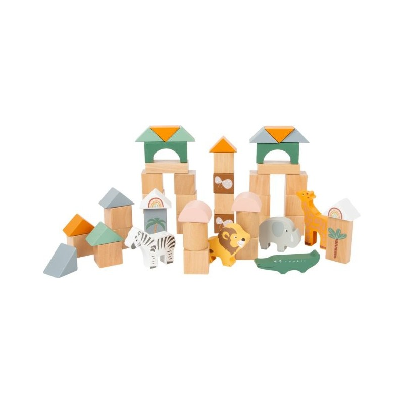 Blocs de constrution en bois - Safari-Motricité et apprentissage-Puzzles en bois en bois | BambinBois