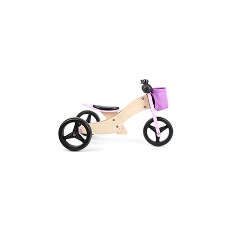 Draisienne-Tricycle 2 en 1  - Rose-Jouets de plein air et de mouvement-Jouets d´éveil et hochets en bois | BambinBois