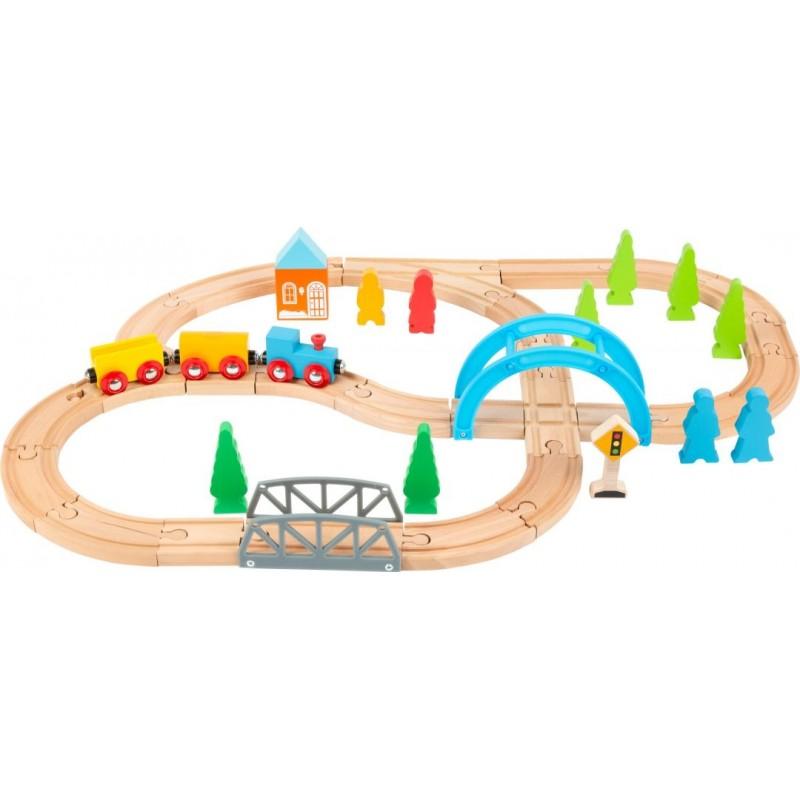 Chemin de fer en bois - Grand voyage-Véhicules et univers de jeu-Jouets d´éveil et hochets en bois   BambinBois