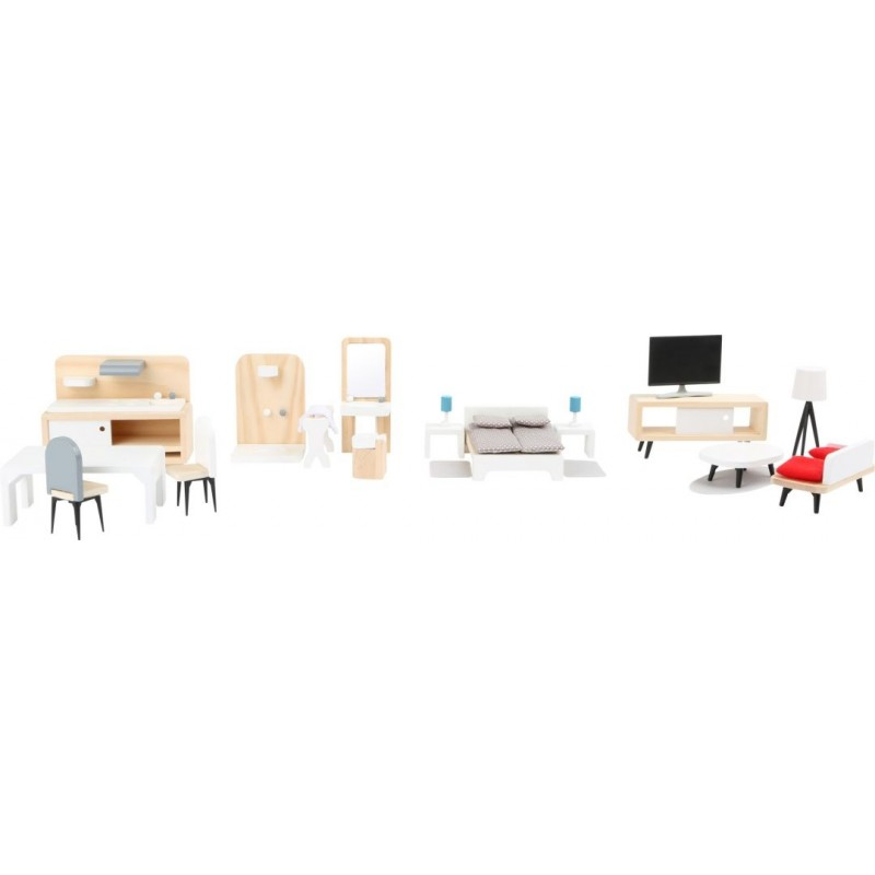 Kit de meubles pour maison de poupée-Poupées et peluches-Jouets de motricité en bois en bois | BambinBois