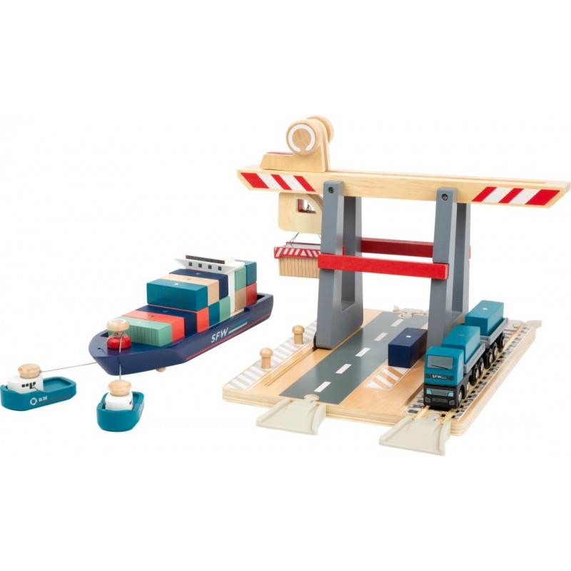 Terminal à conteneurs avec accessoires-Véhicules et univers de jeu-Jouets à marteler en bois | BambinBois