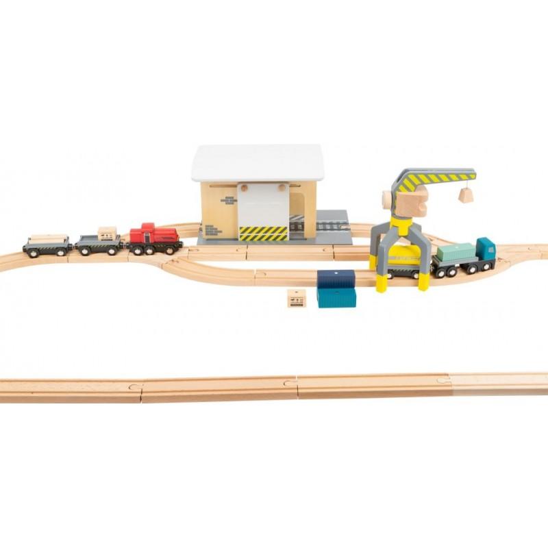Gare de marchandises avec accessoires-Véhicules et univers de jeu-Jouets de motricité en bois en bois | BambinBois