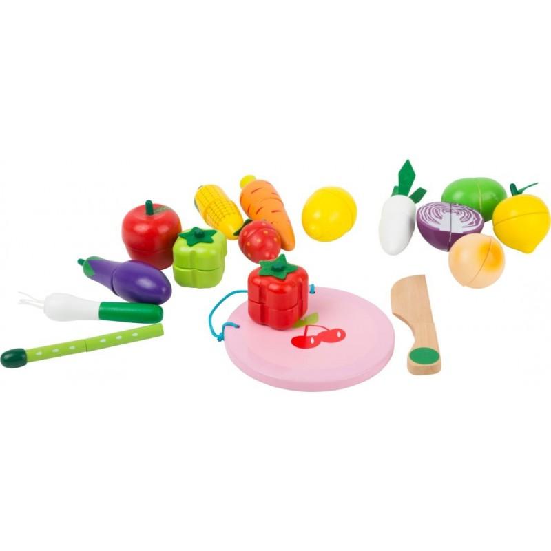 Kit de fruits et légumes à découper-Jeux de rôles-Jouets de motricité en bois en bois | BambinBois