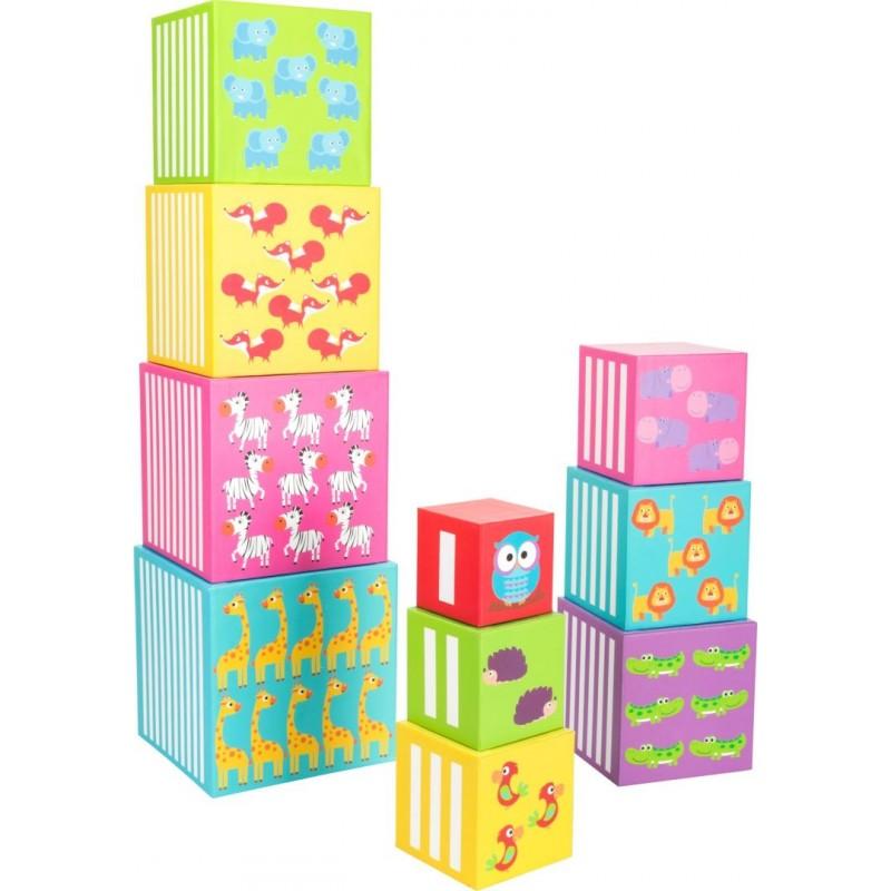 Cubes à empiler - Animaux sauvages-Motricité et apprentissage-Puzzles en bois en bois | BambinBois