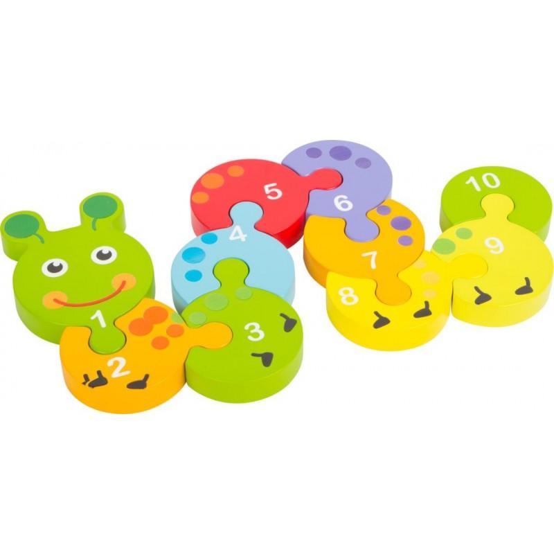 Puzzle de chiffres Chenille-Motricité et apprentissage-Jouets éducatifs | BambinBois