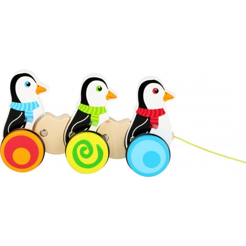 Jouet à tirer Pingouins-Motricité et apprentissage-Jouets à tirer et à pousser   BambinBois