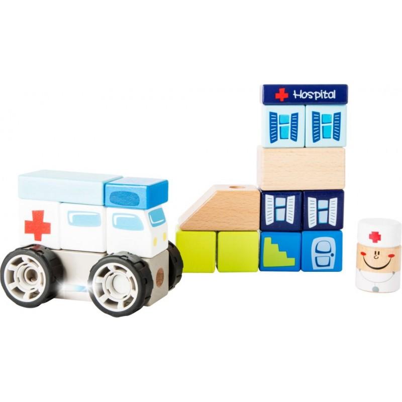 Kit de construction Ambulance avec effets sonores-Motricité et apprentissage | BambinBois