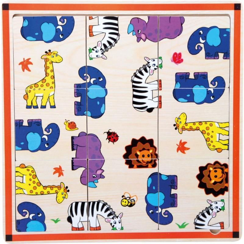 Puzzle cadre «Safari»-Motricité et apprentissage-Puzzles en bois | BambinBois