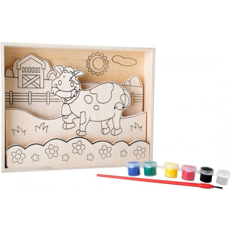 """Image à colorier en bois """"Vache""""- Loisirs créatifs Coloriage et Ecriture"""