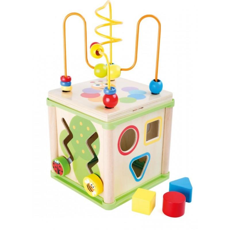 Cube d'activités en bois -  Insectes-Motricité et apprentissage-Jouets de motricité en bois | BambinBois
