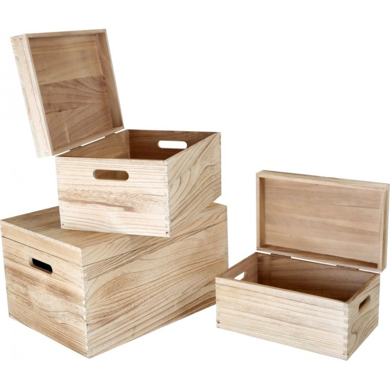 Caisses de rangement jouets en bois naturel (lot de 3)-Décoration et cadeaux | BambinBois
