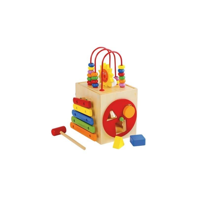 Cube de motricité Soleil-Motricité et apprentissage-Jouets de motricité en bois   BambinBois