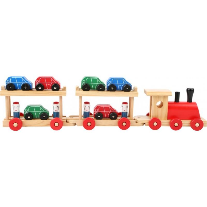 Train pour le transport de voitures-Véhicules et univers de jeu-Jouets à tirer et à pousser | BambinBois