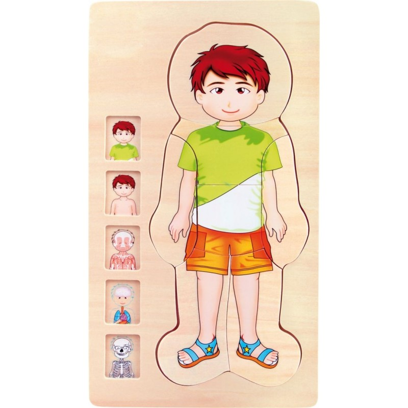 Puzzle à étages - Anatomie garçon-Motricité et apprentissage-Puzzles en bois   BambinBois