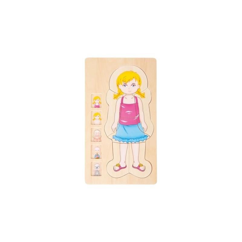 Puzzle à étages - Anatomie Fille-Motricité et apprentissage-Puzzles en bois   BambinBois