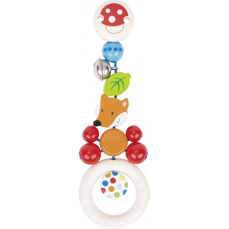 Hochet attachable en bois - Renard Goki Heimess| Bambin Bois, jeux et jouets en bois