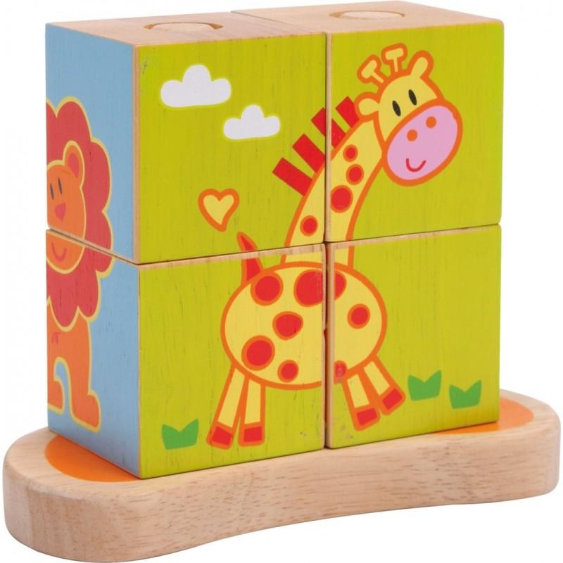 Puzzle cubes à encastrer Animaux-Motricité et apprentissage-Puzzles en bois   BambinBois