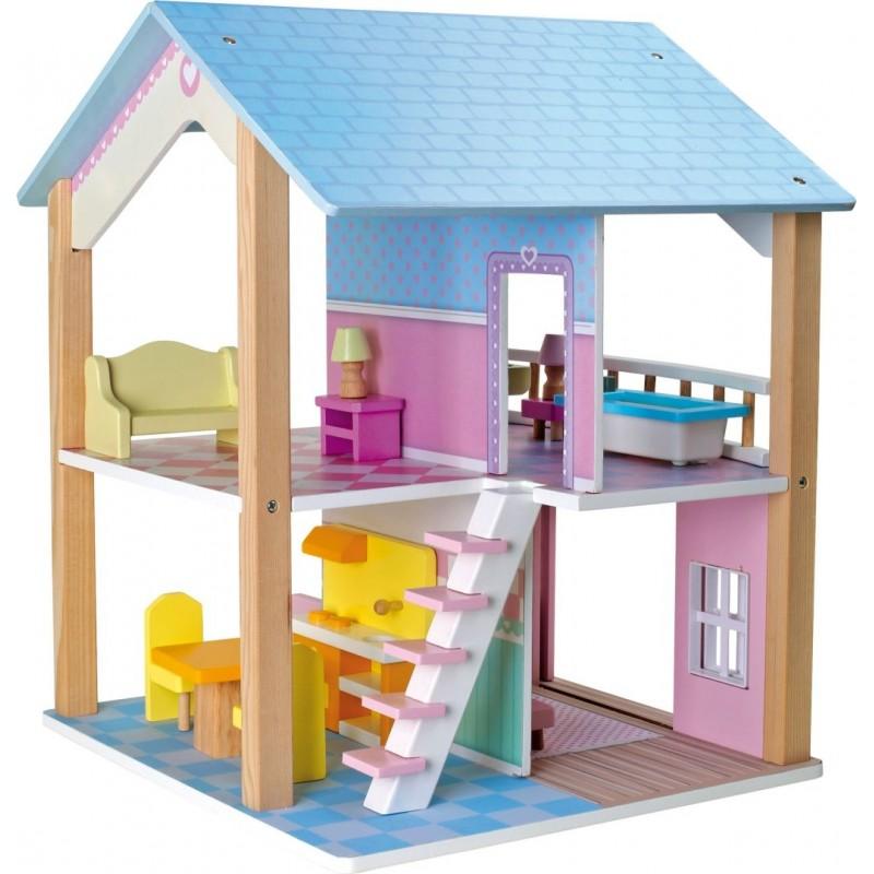 Maison de poupée Toit bleu à 2 étages et tournante-Poupées et peluches | BambinBois