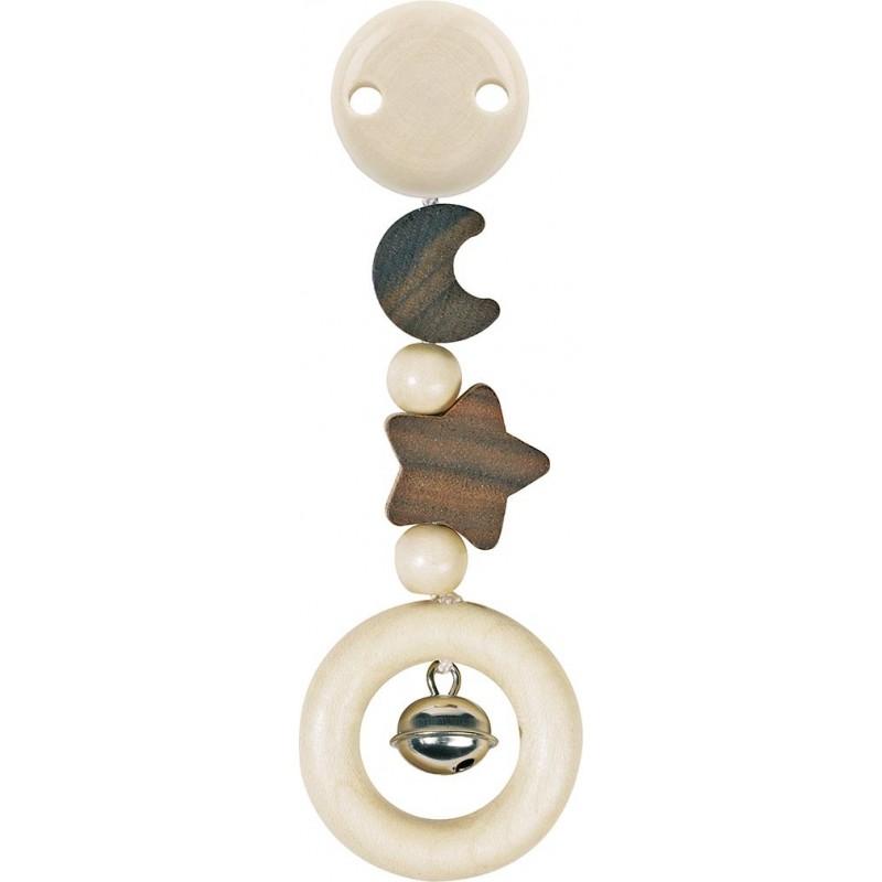 Hochet attachable en bois -  Lune et étoile Goki Heimess| Bambin Bois, jeux et jouets en bois