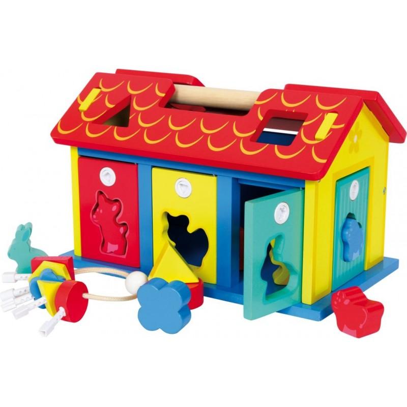 Maison à encastrer - Animaux et formes-Motricité et apprentissage-Jouets à encastrer | BambinBois