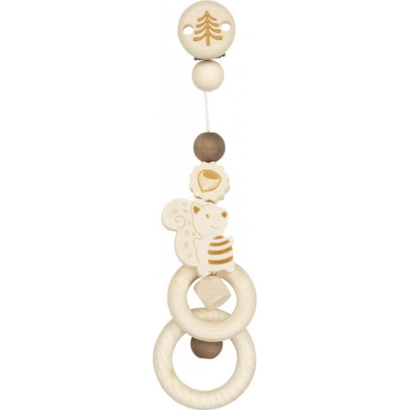 Hochet attachable en bois brut - Ecureuil Goki Heimess| Bambin Bois, jeux et jouets en bois