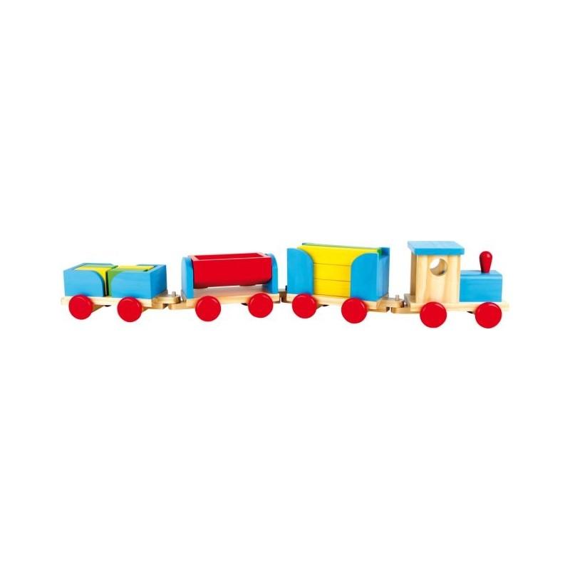 Grand train en bois avec cubes de construction-véhicules et circuits  BambinBois