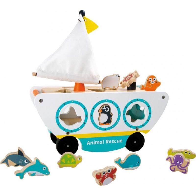 Jeu à encastrer - Voiture amphibie-Motricité et apprentissage | BambinBois