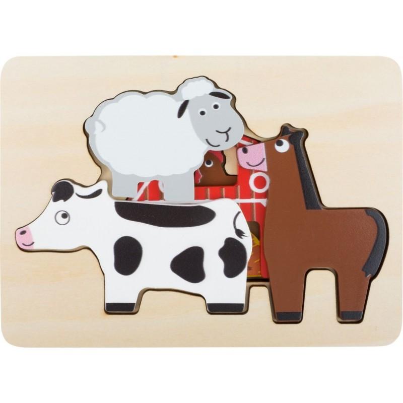 Puzzle à étages Animaux de la ferme-Motricité et apprentissage-Puzzles en bois en bois | BambinBois