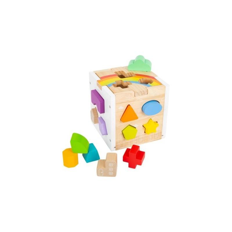 Cube à formes Arc-en-ciel-Motricité et apprentissage-Jouets de motricité en bois en bois | BambinBois