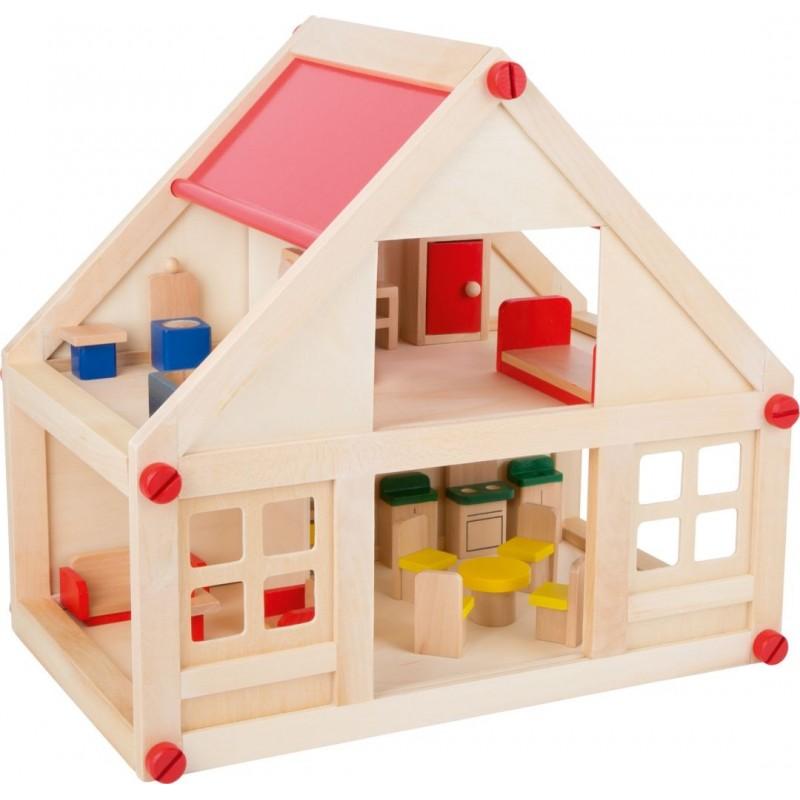 Maison d'habitation meublée-Poupées et peluches-Maisons de poupées en bois | BambinBois
