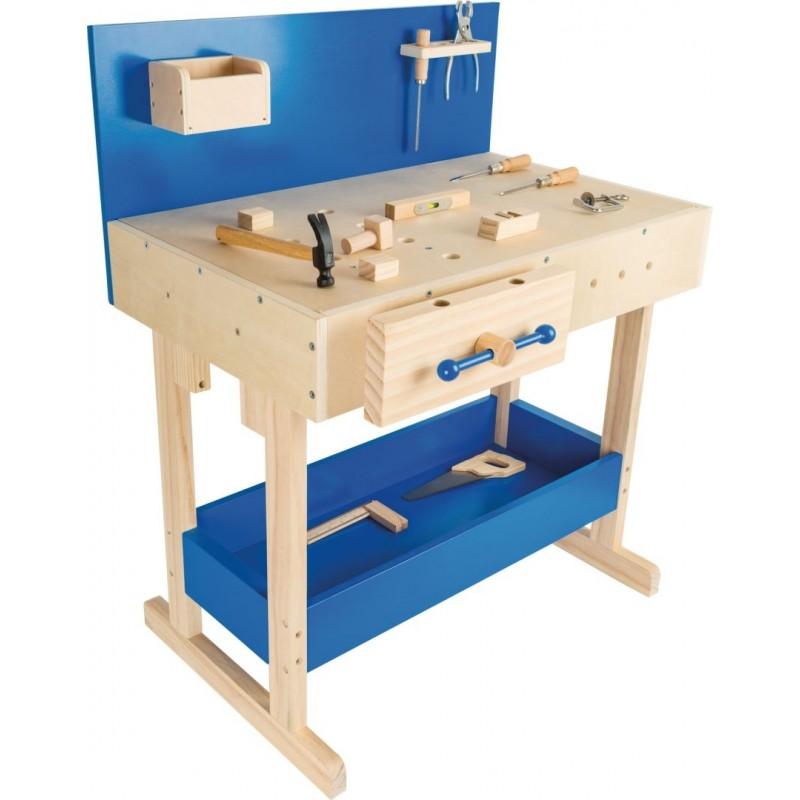 Etabli bleu en bois enfant avec accessoires-Jeux de rôles-Bricolage en bois | BambinBois