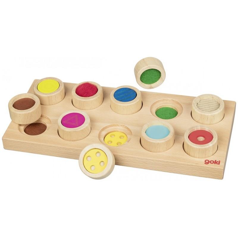 Jeu de mémo tactile - pastilles de couleurs   BambinBois