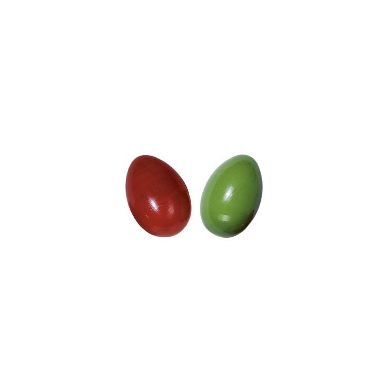 Petits oeufs à secouer rouge et vert (lot de 2) | BambinBois