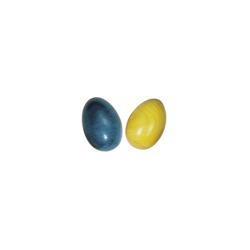 Petits œufs à secouer bleu et jaune (lot de 2) | BambinBois