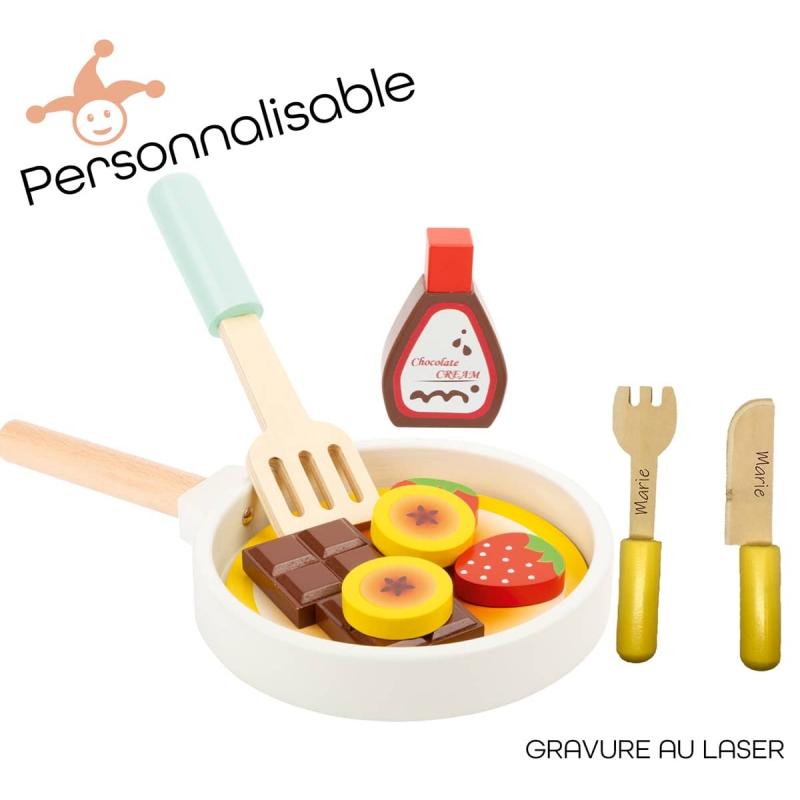 Poêle à crêpe enfant personnalisable Set de cuisine enfant personnalisé