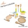 Dinette en bois personnalisable avec casseroles - Cadeau personnalisé 3 ans