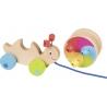Escargot à tirer multicolore en bois - Goki - Jouet à tirer en bois