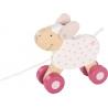 Mouton rose à tirer ☝ Goki Lifestyle ☝ Jouets en bois à tirer