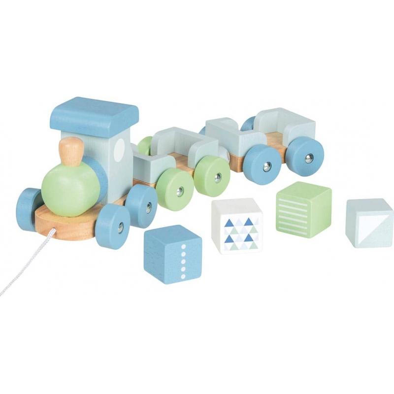 Petit train en bois 2 wagons ☝ Bleu-vert- Goki Lifestyle - Jeu 2 ans