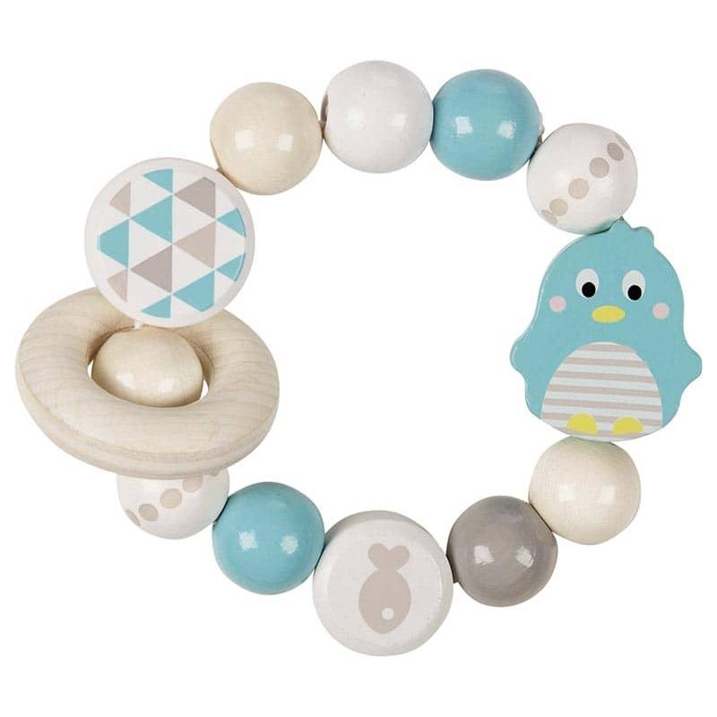 Hochet bois élastique - pingouin - Goki Heimess - jouets 100% bois ☝