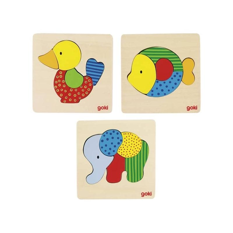 Lot de 3 Puzzle en bois ♥ Canard, poisson et éléphant ♥