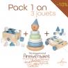 Pack 3 jouets en bois ☝ bébé 1an - Coffret cadeau 1 an jouet en bois